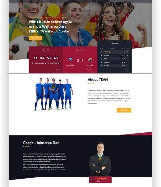 Webseite für Fussballclub