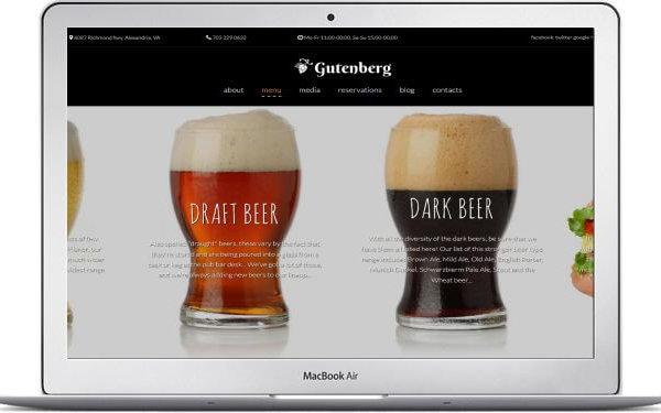 MotoCMS Bier Thema Gutenberg