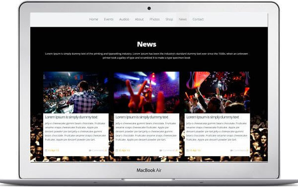 One Page Musik Webseite