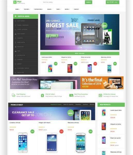 PrestaShop Elektro Onlineshop Template